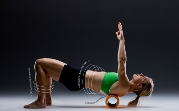 image of trigger point foam roller being used by woman